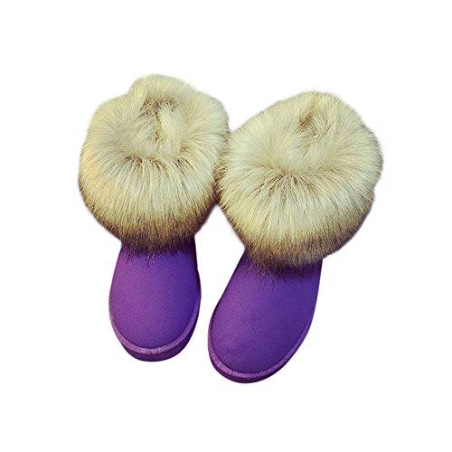 Haodasi Damen Frauen Winter Schnee Kunstpelz Fluffy Stiefeletten Warme Bequeme Beiläufige Flache schuh Lila 40 (Faux-leder-flacher Schuh)