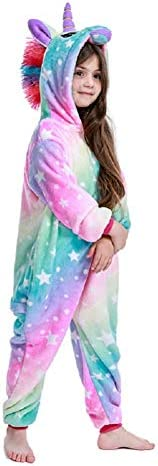 FuRobes Kids Unicorn Onesie Animal Pajamas One Piece Children Cartoon Sleepwear Cosplay Costume for Halloween