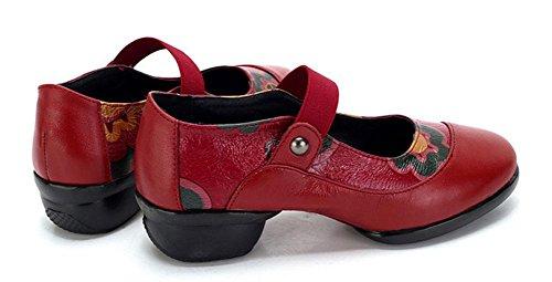SHIXR Frauen-nationaler Wind-Tanz-Schuhe Leder-Damen-weiche Unterseite Breathable Schuhe Jazz-moderne quadratische Schuhe Rote