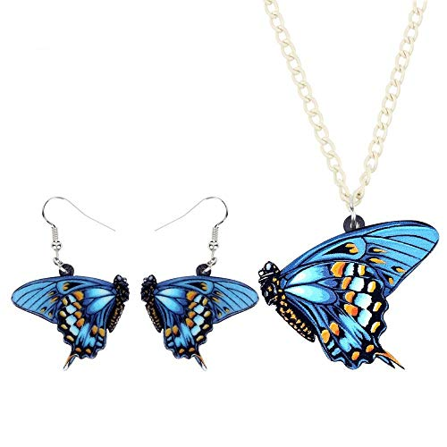 ZHWM Ohrringe Ohrstecker Ohrhänger Acryl Big Morpho Menelaus Butterflyearrings Halskette Kragen Anhänger Trendy Insekt Schmuck Sets Für Frauen Mädchen Geschenk Hot