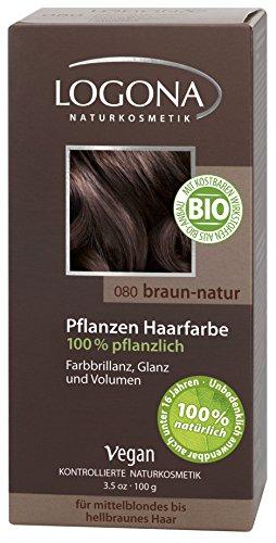 LOGONA Naturkosmetik Coloration Pflanzenhaarfarbe, Pulver - 080 Braun-Natur - Braun, Natürliche & pflegende Haarfärbung (100g)