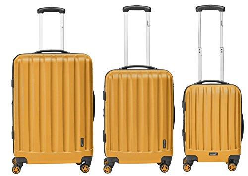 Packenger Velvet Koffer, Trolley, Hartschale 3er-Set in Orange, Größe M, L und XL