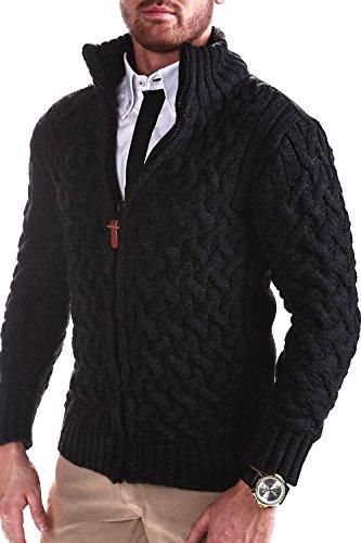 MT Styles Strickjacke mit Stehkragen Pullover E-9000 [Dunkelgrau, M]