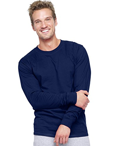 Hanes Adult Beefy-T Long-Sleeve T-Shirt XL Blue