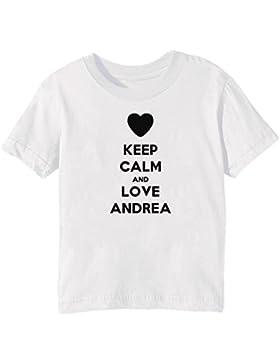 Keep Calm And Love Andrea Bambini Unisex Ragazzi Ragazze T-Shirt Maglietta Bianco Maniche Corte Tutti Dimensioni...