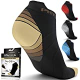 Compression Running Socks Men & Women - Best Low Cut No Show Athletic Socks for Stamina Circulation & Recovery - Durable Ankle Socks for Runners, Plantar Fasciitis & Cycling - 2 PAIRS BRN BLK L/XL
