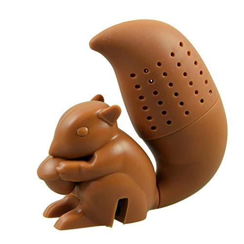 Tier Tee (Niedliches Tier Eichhörnchen - Braun - Tee-Ei aus Silikon (BPA-frei) für losen Tee Tee-Infuser)