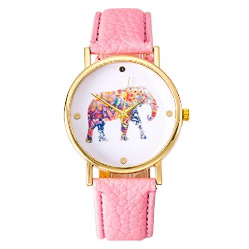 Fashion relojes cinturón ordinario relojes reloj ginebra relojes de impresión elefante rosa