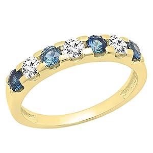 DazzlingRock Collection 14K Gold Rund 3,20mm blau Saphir & Diamant weiß Damen Jahrestag Hochzeit Band
