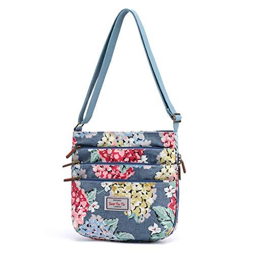 TAMALLU Frauen Groß Reißverschluss Nylon Umhängetasches Umhängetaschen Reise Floral Printed Taschen(Blau) -