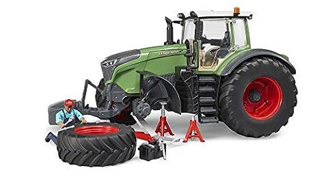 BRUDER - 04041 - Tracteur FENDT 1050 Vario vert avec mécanicien et accessoires de dépannage