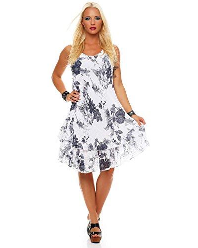 Zarmexx Sommerkleid Knielang doppellagig Baumwolle Kleid Strandkleid V-Ausschnitt floraler All-Over