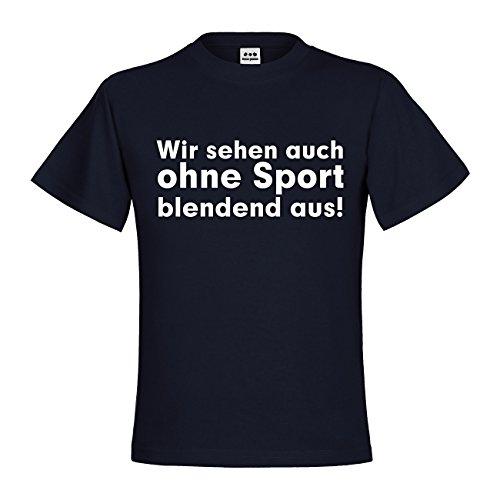 Weißen Blendend Kostüm (dress-puntos Kids Kinder T-Shirt Wir sehen auch ohne Sport blendend aus! 20drp15t-kt00120-170 Textil navy / Motiv weiss Gr.)