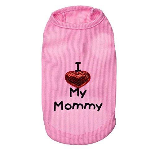 Rdc Pet Hunde-T-Shirt mit Aufschrift I Love My Mommy & Daddy, Baumwolle, Tank-Top für kleine Hunde & mittelgroße Hunde & Katzen, Rosa, XXS, Rose -