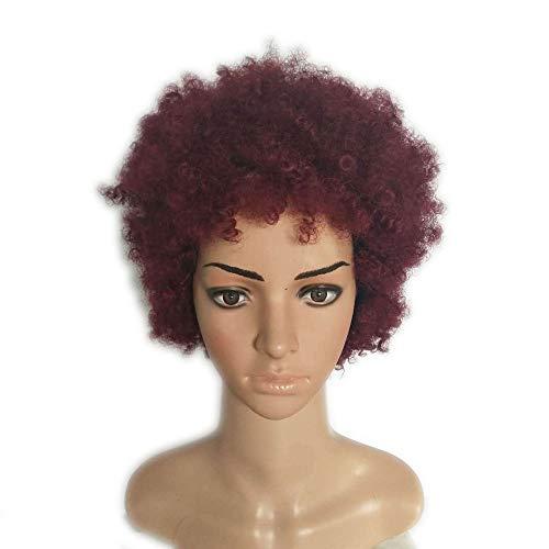 BERYLSHOP Kurzes Haar Explosive Head Perücken Lockige Afro Perücke Kostüm Weinrot Hair Party Headwear (Farbe : Weinrot)