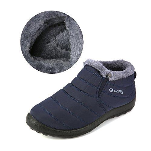 Schneestiefel, Gracosy Unisex Flach Winterstiefel Warm Gefütterte Schuhe Winter Bootsschuhe Kurzschaft Stiefel mit Inner Flaum für Damen Herren Blau 46