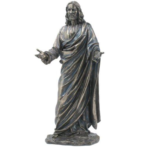 (Jesus als Prediger Bronzierte Figur Christentum Kreuz Gott Glaube)