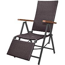 vidaxl chaise longue inclinable rsine tresse marron transat meuble - Chaise En Resine Tressee