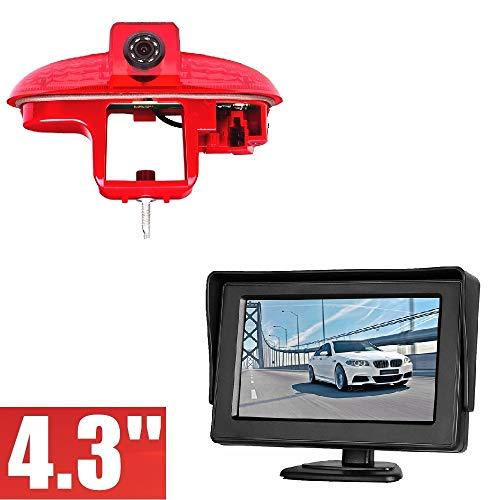 Caméras de recul en 3ème feu Stop INCL. Câble de 10m + Stand-Alone Moniteur 10,9cm (4,3 Pouces) pour Transporter Renault Trafic Opel Combo Vauxhall Vivaro Nissan Primastar FIAT Talento