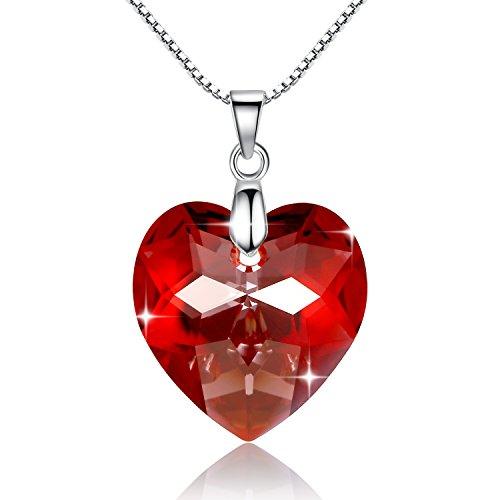 GoSparking Red Crystal Heart Sterling Silver Collar colgante con el cristal austríaco...