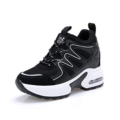 Aonegold sneakers zeppa donna scarpe da ginnastica sportive fitness scarpe con zeppa interna tacco 7 cm(nero,36 eu)