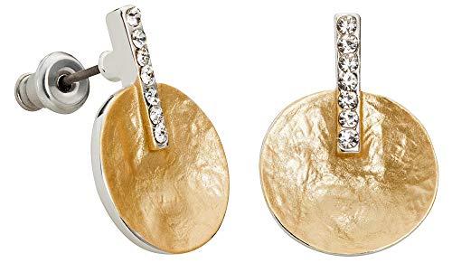 Perlkönig | Damen Frauen | Ohrringe Set | Ear Cuffs | Gold Farben | Blättchen | Glitzer Steine | Stecker | Nickelfrei (Ohrring Cuff Kette Set Und Mit)