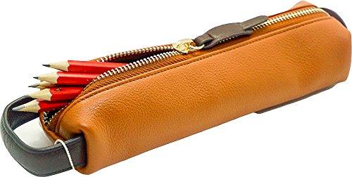 Echtes Leder Bleistift Fall–Einzigartige Rindsleder Leder Bleistift und Brillenetui hellbraun