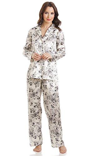 Damen Pyjama aus Satin - Lange Ärmel & Hose - Creme mit Blumenmuster 46 (Satin Pyjama Floral)