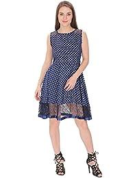 FRANCLO women's Polka dot gathered dress (Navy Blue)