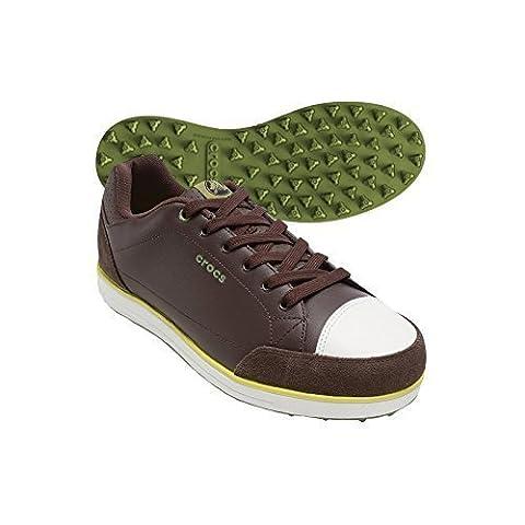Crocs Herren Karlson Stollenlose Golf Schuhe - Espresso/Zitrusgewächs, EU 42