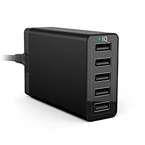 Anker 40W 5-Port High Speed Desktop USB Charger with PowerIQ Technology for iPhone, iPad Air 2, Samsung Galaxy S6 / S6 Edge, Nexus, HTC M9, Nokia and More (Black) (Black old)