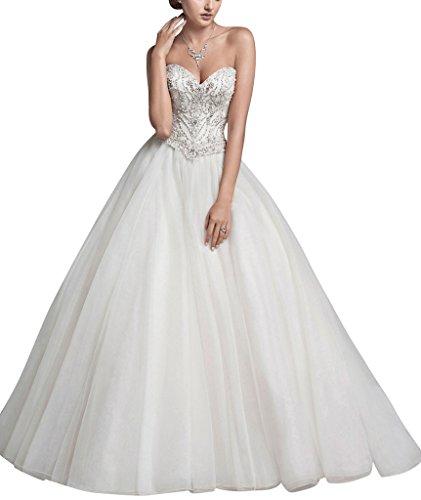 George bride a mano di perline abito da sposa linea tutu un organza di tulle, taglia 48, bianco
