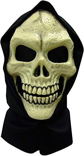 (Totenkopf-Maske mit Kapuze aus PVC, Zubehör für Halloween-Kostüme)