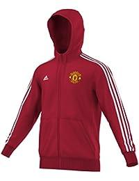 adidas MUFC 3S Hood ZI - Chándal para hombre, color rojo / blanco
