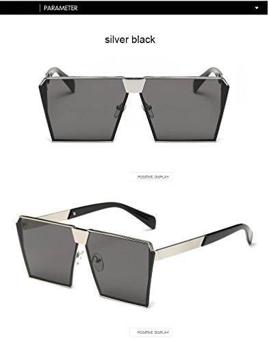 Aprigy Mode-Marken-Entwerfer-Quadrat-flache Linse Sonnenbrillen Spiegel-Frauen-Sonnenbrille M?nner Hip Hop Maxi-Lady Brille M?nnlich [Silber schwarz]