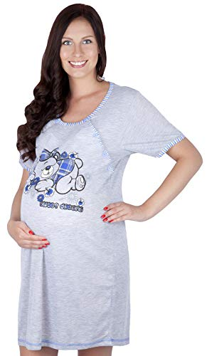 Mija - 2 en 1 Maternité/Allaitement/Coton Robe de Nuit 2055 U (EU 40, Bleu Fonce)
