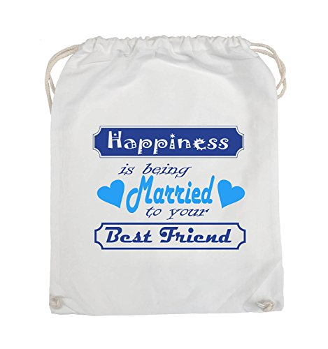 Comedy Bags - Happiness is being married to your best friend - Turnbeutel - 37x46cm - Farbe: Schwarz / Weiss-Neongrün Weiss / Royalblau-Hellblau