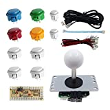 SJJX DIY Arcade Game Button and Joystick Controller Kit for Rapsberry Pi and Windows,5 Pin Joystick and 10 Push Buttons 822a Mix White