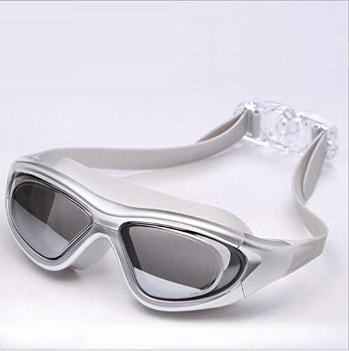 Hochwertige, modisch plattierte Spiegelbrille mit großem Rahmen, Antibeschlag und UV-Silber