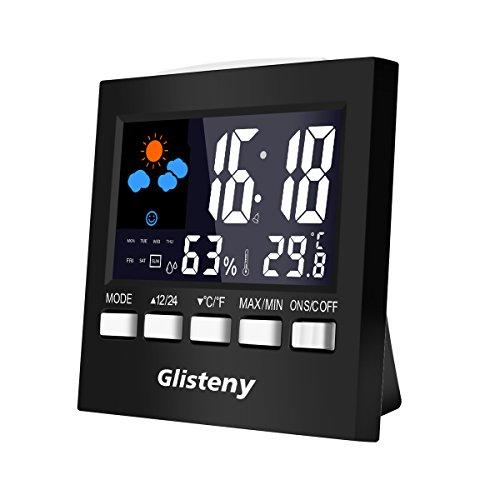 Thermo-Hygrometer, Glisteny Digitaler Thermometer, Multifunktionaler Thermometer ,LCD-Bildschirm,Stimme Kontrolle, Hintergrundbeleuchtung mit Wecker, Innen Temperatur und Humidity Monitor ( Schwarz)