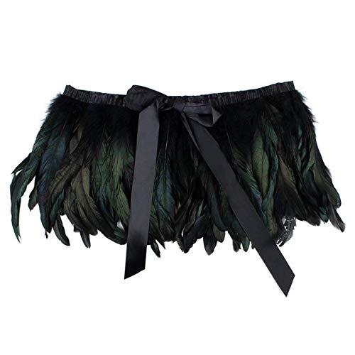 Schwarz Flügel Gefiederten Kostüm - ANSUG Art- und Weiseschwarz-Feder-Schal, natürliche Schulter-Verpackungs-Handnähen-Zutatkragen-Pfau-Schale für Cocktailkleid-Partei-Stadium