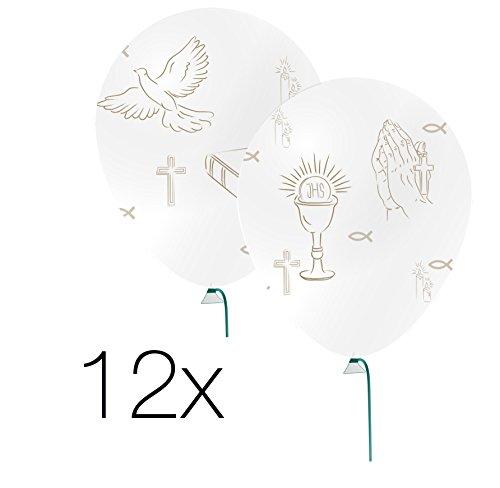 12x Luftballons gold weiß Ballon für Luft und Helium zur Dekoration Deko Motive Kreuz, Taube, Fische bei christliche Feste wie Kommunion, Firmung, Hochzeit, Konfirmation, Taufe uvm.