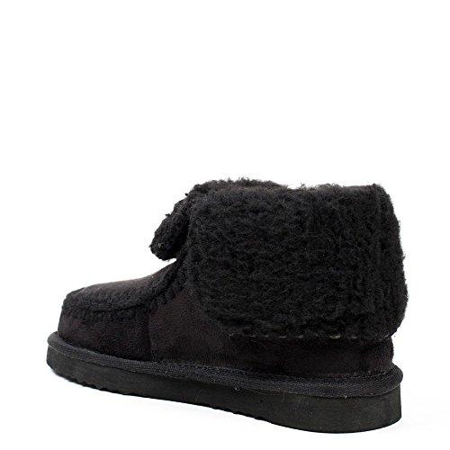 Ideal Shoes–Boots bolliti con cuciture apparenti lolinie Nero