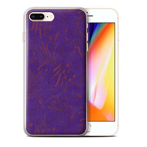 Stuff4 Gel TPU Hülle / Case für Apple iPhone 8 Plus / Rosa/Orange Muster / Weizen Blümchenmuster Kollektion Lila/Pink