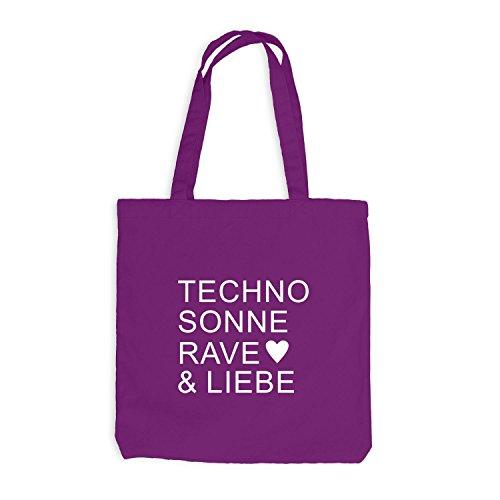 Jutebeutel - Techno Sonne Rave & Liebe - Music Festival Magenta