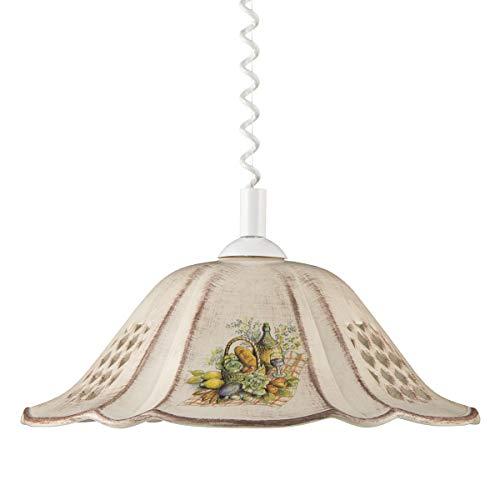 Helios Leuchten 207065 Küchenlampe Keramiklampe braun | Pendellampe Pendelleuchte aus Keramik | höhenverstellbare Keramikleuchte | Hängelampe 1 x E27 -