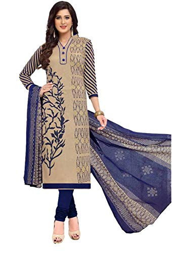Vaamsi Women's A-Line Printed Salwar Suit Dress Material(Deep1056_Beige_Free Size)