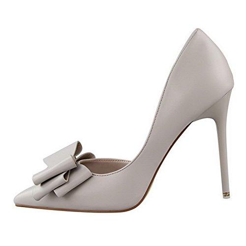 AalarDom Femme Tire Stylet Couleur Unie Pointu Chaussures Légeres Gris-Pu Cuir