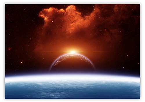 XXL Poster 100 x 70cm (S-820) futuristisches Bild im All mit einer aufgehenden Sonne Planeten Sternenhimmel Weltraum Erde Mond Horizont (Lieferung gerollt !)