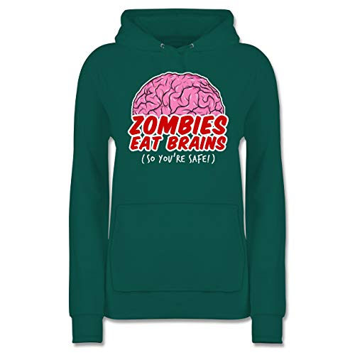 Gehirn Riesen Kostüm - Shirtracer Halloween - Zombies eat Brains - so You´re Safe! - XXL - Türkis - JH001F - Damen Hoodie